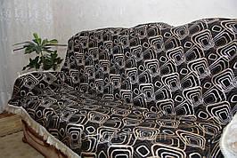 Ромбы черный покрывало полуторное гобеленовое на кровать, диван, тахту