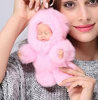 Меховой брелок на сумку. Куколка. 19см. Розовый