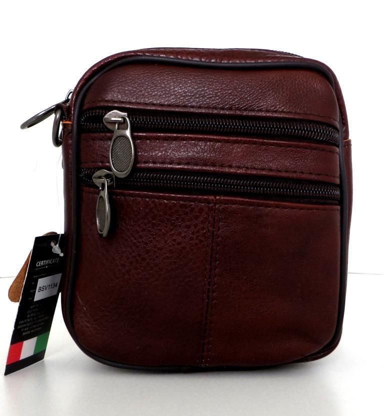 Мужская сумка через плечо. Натуральная кожа. Коричневый
