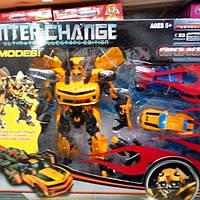 Робот трансформер Бамблби Bumblebee + 2 машинки в коробке 57-48-15см., фото 1