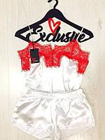 Женская пижама Exclusive с кружевом, атласная пижама: маечка и шортики в комплекте. Разные цвета, размеры.