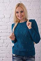 Свитер вязаный женский с ажурным узором цвета джинс.