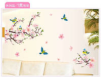Наклейка на стену, виниловые наклейки декоративное цветущее дерево и синички (лист60*90см)