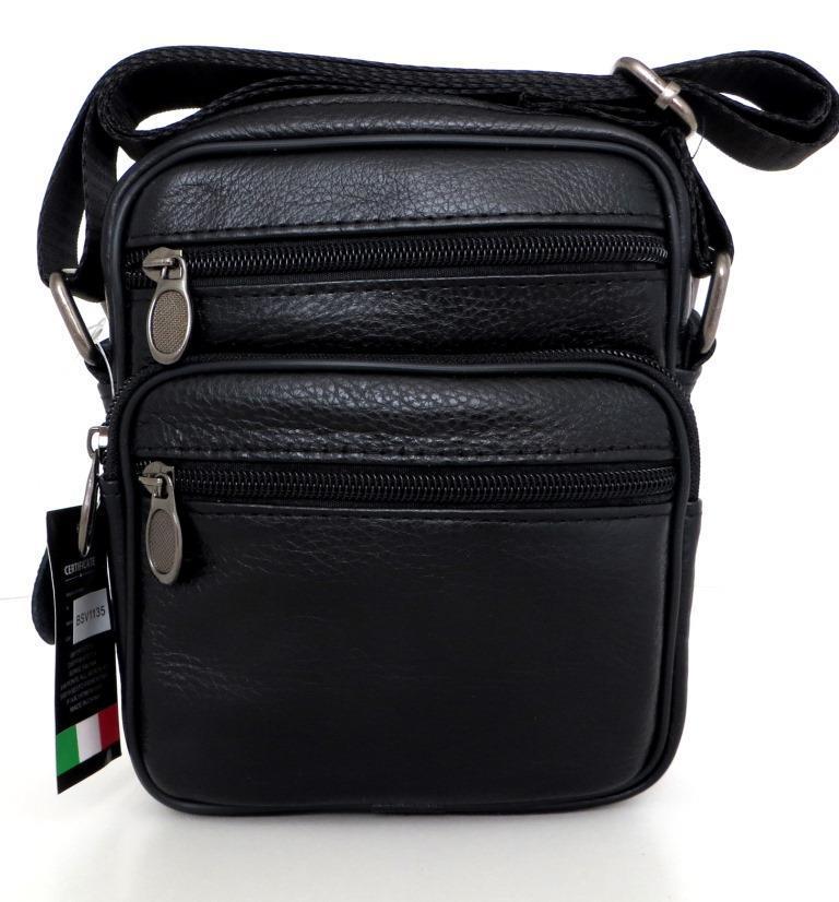 Мужская сумка через плечо. Натуральная кожа. Черный  продажа f3746ac50bd85