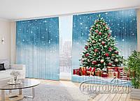 """Фото Шторы в зал """"Новогодняя елка и подарки"""" 2,7*5,0м (2 полотна по 2,5м), тесьма"""