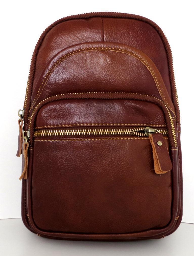 Мужская сумка - планшет через плечо. Натуральная кожа. Коричневая