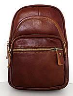 Мужская сумка - планшет через плечо. Натуральная кожа. Коричневая, фото 1