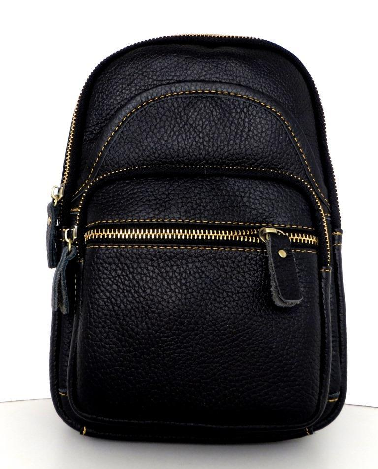 Мужская сумка - планшет через плечо. Натуральная кожа. Черная