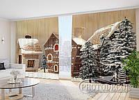 """Фото Шторы в зал """"Пряничные домики в лесу"""" 2,7*5,0м (2 половинки по 2,5м), тесьма"""
