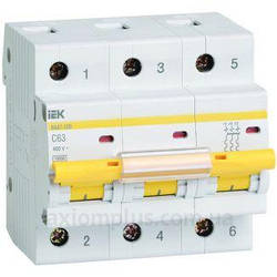 ВА 47-100 3Р  80А 10 кА  х-ка C IEK автоматические выключатели