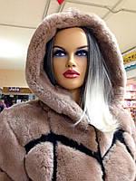Жіноча шуба з бобра-бобрик рекса великих розмірів, фото 1