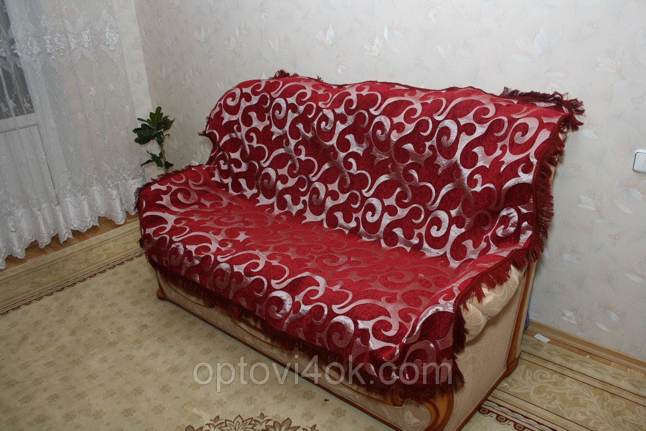 Покривала (дивандек) на ліжко з гобелена Вензель великий бордовий