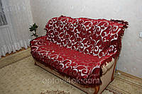 """Покрывала (дивандек) на кровать из гобелена """"Вензель крупный"""" бордовый"""