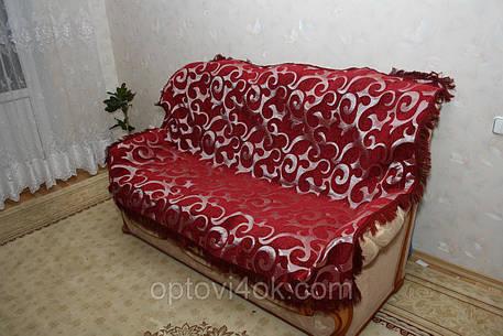 Покрывала (дивандек) на кровать из гобелена Вензель крупный бордовый, фото 2