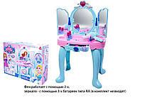 Детский туалетный столик 008-906  на батарейках, музыкальный, фен, зеркало, аксессуары 72-30- 45 в коробке51-38-14  см.