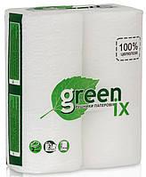 """Полотенце бумажное белое 100% целлюлоза 2 слоя с перфорацией """"Green ix"""". Упаковка 2 рулона"""