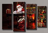 "Модульная картина на холсте из 4-х частей ""Санта-Клаус"""