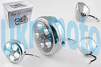 """Фара светодиодная круглая (крепеж 165mm, голубая подсветка, металл) """"Feili"""""""