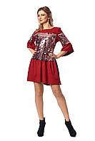 Платье из замши декорированное пайетками