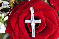 Крест прямой мужской православный серебряный