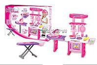 Набор детская кухня 2в1 018-23  батар, свет, звук, гладильная доска, посуда, продукты, в коробке 46*9, 5*32 см.