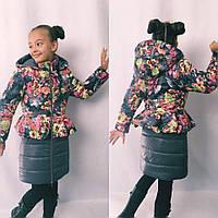 Детское пальто на синтепоне с цветочным принтом
