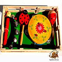 Деревянные музыкальные инструменты - Бубен, маракас, детский бубенчик, дамару, барабанчик на  ручке