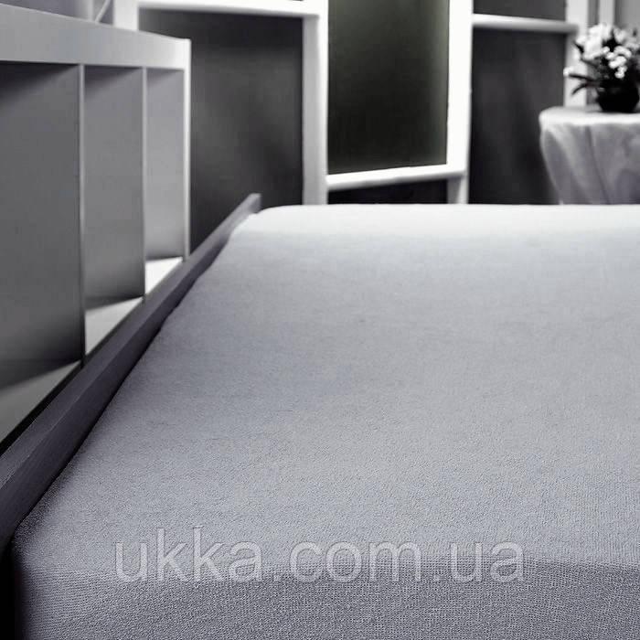 Простынь махровая на резинке 160х200 Светло-серая Польша