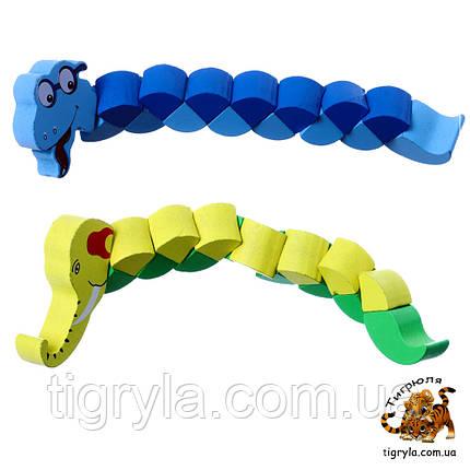 Деревянная головоломка, змейка, слоник, крокодильчик, гусеница гусеничка, фото 2