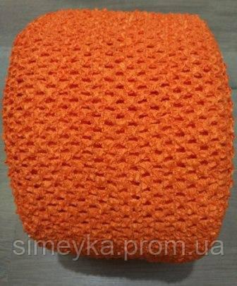 Ткань-резинка для ажурного топа, шапочки, ширина 15 см. Оранжевая. Отрез 1 м.