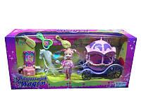 Карета и лошадь R-3360B (24шт/3) с лошадкой,  куколкой,  расческа, зеркало,  трюмо,  в коробке 40*18*11 см.