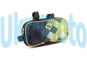 """Сумка велосипедная на раму   (горизонтальная)   (mod:1, черно-желтая)   """"AI"""""""