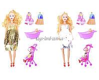 Кукла  Барби Семья 2914  с маленькой куклой, пупсик, коляской, ванночкой, одеждой,  в коробке 19*6*33 см.