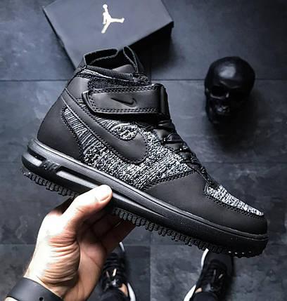 Мужские кроссовки Nike Lunar Force 1 Flyknit Workboot Black/Grey, фото 2