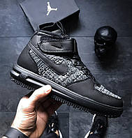 Утепленные мужские кроссовки Nike Lunar Force 1 Flyknit Workboot Black/Grey