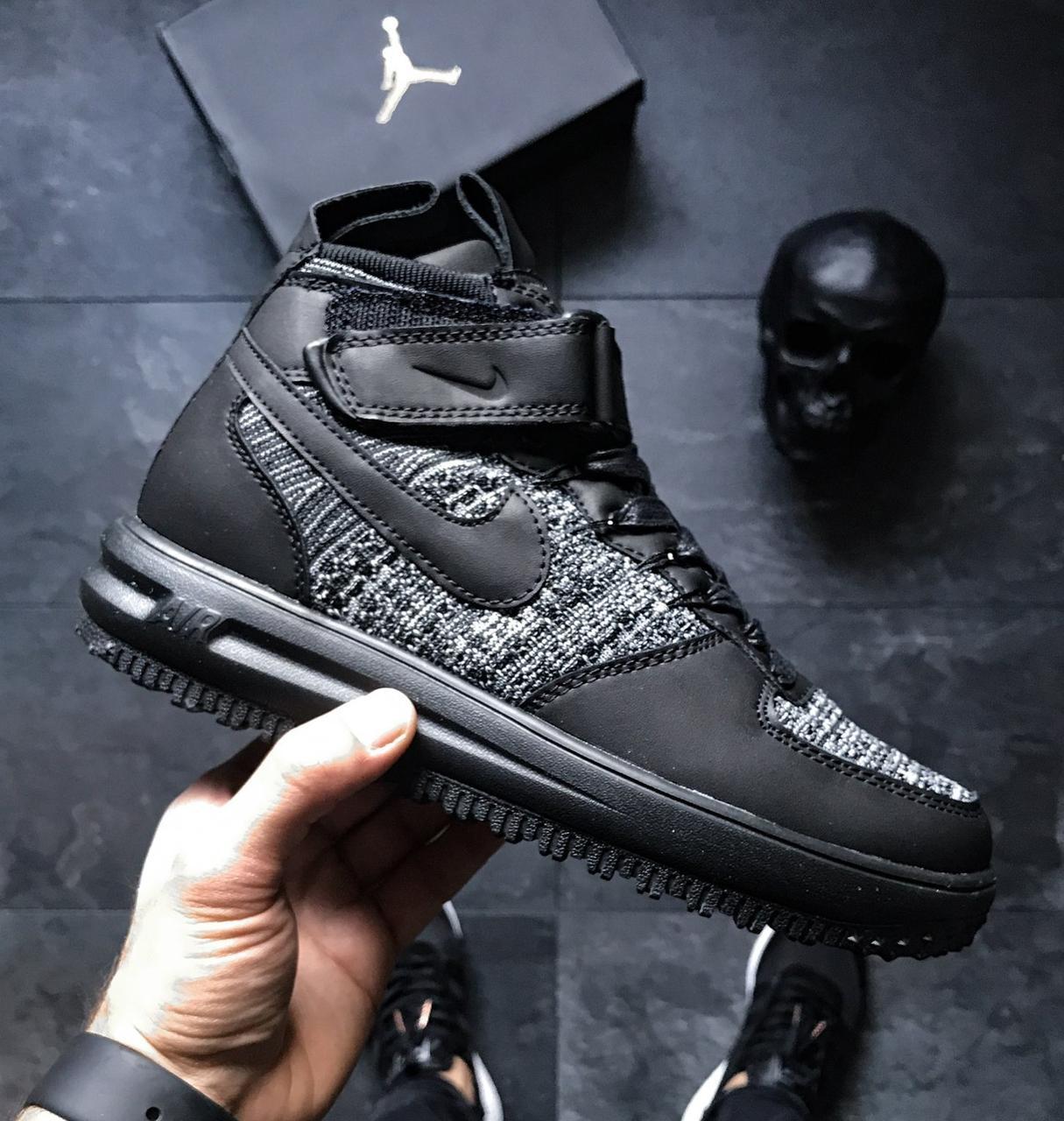 buy online f9973 12cf7 Мужские кроссовки Nike Lunar Force 1 Flyknit Workboot Black Grey - Интернет-магазин  обуви