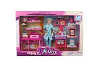 Кукла  Барби Доктор  JX100-28  с мебел, ребенк, ванн, весы, шарнир,  в коробке 52*7*35 см.
