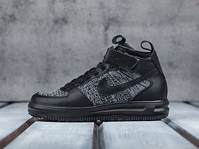 finest selection 28a76 a9182 Мужские кроссовки Nike Lunar Force 1 Flyknit Workboot Black Grey, фото 3