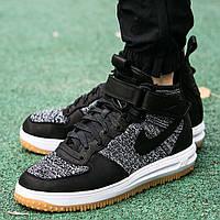 Утепленные мужские кроссовки Nike Lunar Force 1 Flyknit Workboot Black/White/Grey (Топ реплика ААА+)
