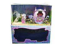 Карета R-3361D (12шт/2) с лошадкой,  куколкой,  в коробке 46*24*16 см.
