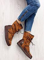 02-20 Светло-коричневые женские полусапожки замшевые K1650002 40