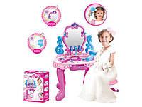 Детский туалетный столик 008-86  на батарейках, музыкальный, свет, фен, зеркало, аксессуары в коробке