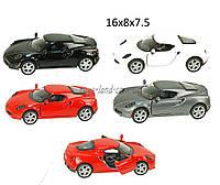Машина металлическая KINSMART KT5366W  Alfa Romeo 4C, в кор.16*8,5*7,5cm