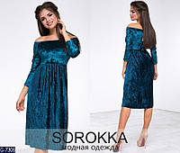 Женское платье бархатное миди