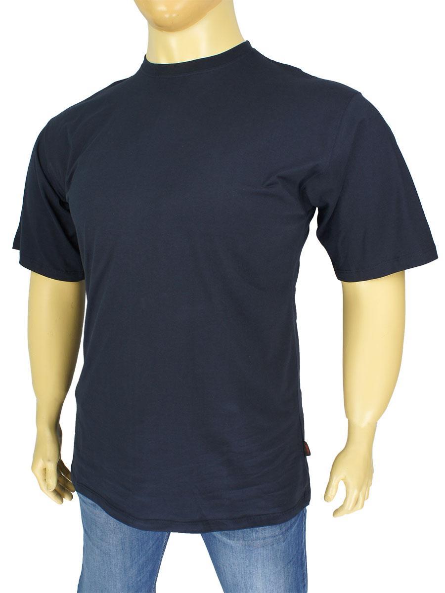 Темно-синяя мужская футболка Laperon PRN-4110 в большом размере