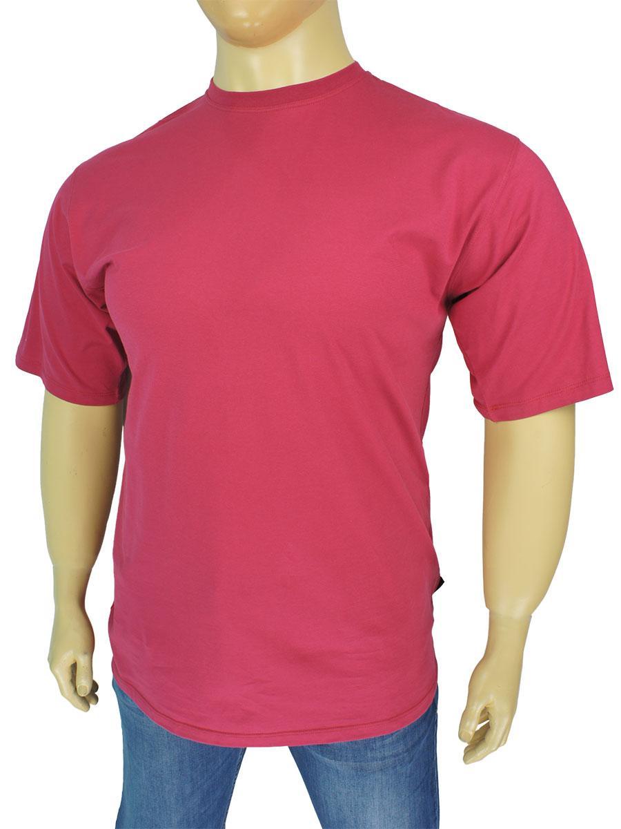 Однотонна чоловіча футболка Laperon PRN-4110 B в темно-рожевому кольорі великого розміру