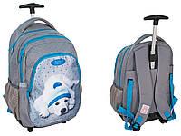 Рюкзак школьный на колесах серый с собакой PASO