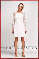 "Платье c кружевом ""Lace-Реглан"" цвет белый"