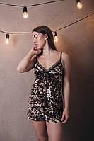 Леопардовая велюровая пижама с шортиками 42-48