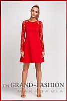 """Красное платье """"Lace-Реглан"""" оптом и в розницу., фото 1"""